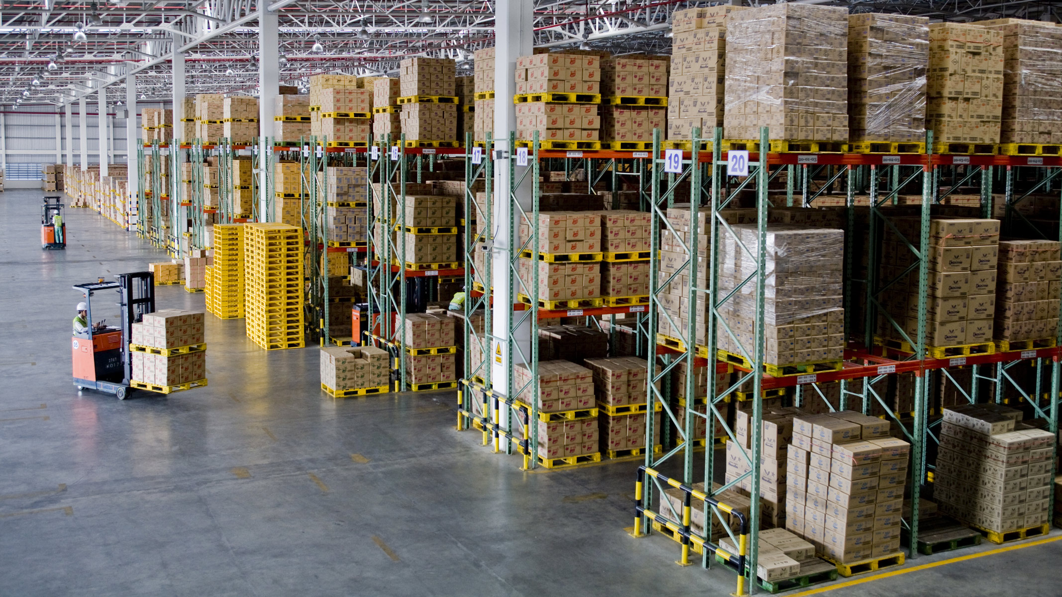 Large warehouse stacked full of boxes