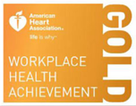 A logo for American Heart Association's Gold award