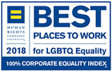A logo for Best places to work for LGBT equality award