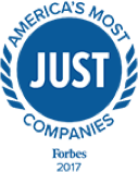 "A logo for Forbes magazine's ""The Just 100: America's Best Corporate Citizens"" award"