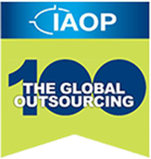 A logo for The International Association of Outsourcing Professionals Global Excellence in Outsourcing award