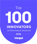"A logo for Mogul's ""Top 100 Innovators in Diversity & Inclusion"" list award"