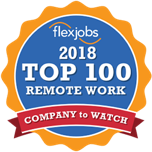 A logo for Flexjobs' 100 remote companies to watch award