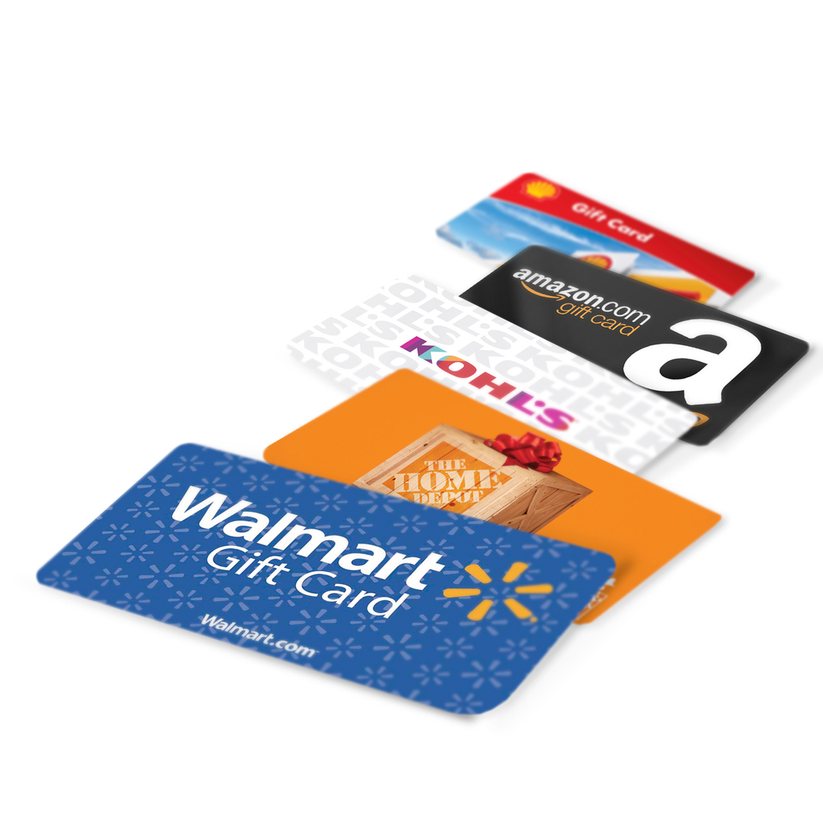 A series of gift cards for Walmart, The Home Depot, Kohl's, Amazon and Shell are laid out on a table.