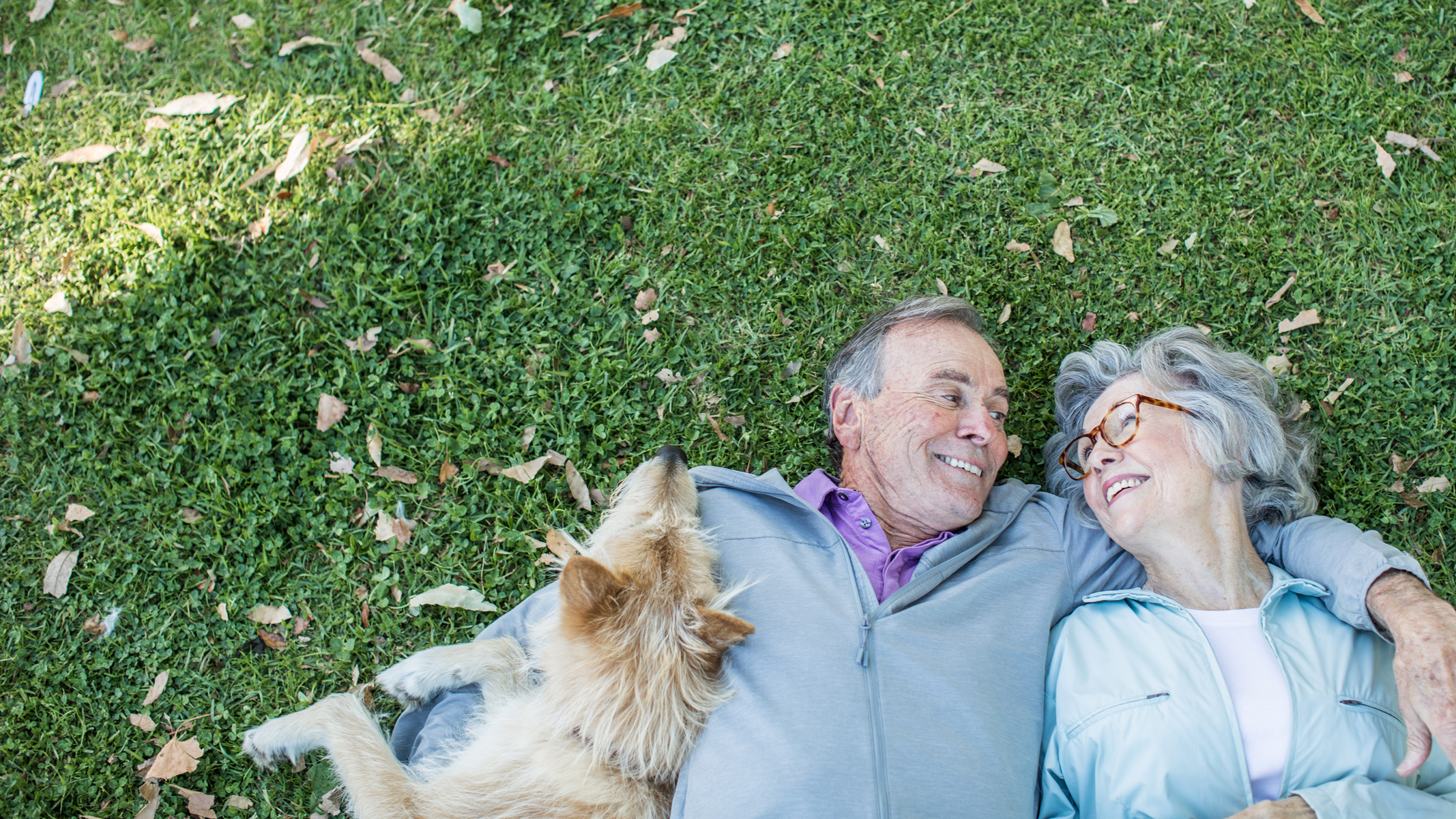 A man and a woman stare lovingly into each other's eyes as they lie in the grass with their dog by their side