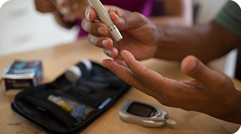 Person testing type 2 diabetes levels and hypoglycemia